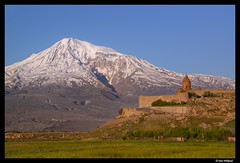 The mountain and monastery (Dan Wiklund) Tags: mountain snow church landscape spring religion christian monastery armenia d800 armenian ararat khorvirap 2013