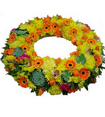 FTD Wreath of Yellow & Orange (dobdeals.com) Tags: flowers wreaths eventsupplies