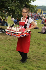 Strawberries and cream (Joybot) Tags: red summer england food english girl lady bristol dessert person one britain cream pudding strawberries apron tray balloonfiesta british vendor summertime treat posh unionjack unionflag streetfood seller 2012 strawberriesandcream stopmeandbuyone
