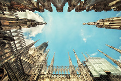 Rockets 2 (Ognen Bojkovski) Tags: old city windows roof sky urban italy milan church architecture photography big nikon exterior angle cathedral milano small religion review wide dramatic duomo rockets nikkor pillars ultra enormous d800 ognen 1424mm obojkovski bojkovski