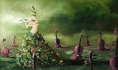 In Rubato (kingabrit2) Tags: flowers light woman playing flower photomanipulation photoshop photo surrealism surreal manipulation skirt beam fantasy violin flare surrealist manip photomanip violins rubato bokey