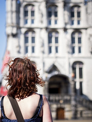 Hanneke, Gouda 2013: Lines and curls (mdiepraam) Tags: portrait woman beautiful dutch pretty cityhall gorgeous curls redhead mature attractive hanneke faade marketsquare gouda backshot fortysomething 2013