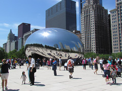 Cloud gate (Mimi_K) Tags: sculpture usa chicago reflection skyline architecture reflections illinois watertower fireescape cloudgate thebean anishkapoor