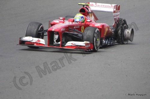 Felipe Massa's tyre suffers catastrophic failure during The 2013 British Grand Prix