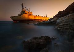 Hot'n'Cold (tomasz.cc) Tags: longexposure sunset sea island nikon cyprus caves shipwreck aground paphos d800 pafos 1635 edro nikkro bigstopper