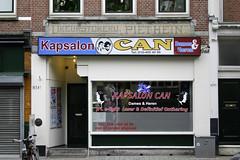 Likeurstoker  Piet  Hein. (Florian Hardwig) Tags: tile rotterdam storefront lettering coiffeur quotationmarks liquour underline u0132 u00b7 closingperiod