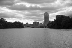 (HOARYHEAD) Tags: bridge blackandwhite bw minnesota clouds minneapolis mississippiriver minneapolismn nikond700 nikon28300mm