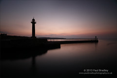 Whitby Pier and Lighthouse - Dusk (ScudMonkey) Tags: lighthouse seascape silhouette canon landscape evening coast pier dusk whitby slowshutter northyorkshire manfrotto 6d ef1740mmf4l sooc nd1000 nd110 804rc2 055xprob c2013paulbradley