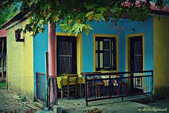 a little colored, graphic, Gree house... (Love me tender .**..*) Tags: blue windows red house home colors yellow architecture yard greek photography october doors village graphic greece zarouhla dimitra akrata 2013 dytikiellada nikond3100 kirgiannaki