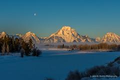 Oxbow Dawn In Late Winter (John D. Yeates) Tags: winter moon snow dawn grandtetonnationalpark oxbowbend lunarmoon
