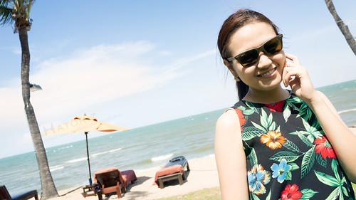 Beautiful Girl at Hua-Hin beach