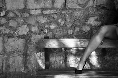 part of a bigger picture (jazzwink) Tags: bw white stone bench foot shoe highheel leg cave knee calf cavern slender cland