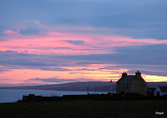 The Quoy Of Houton In November (orquil) Tags: quoyofhouton twostorey old house former farmhouse traditional flagpole workshop west houton silhouette deep shadow seaside scapaflow glimpse distant partof hoy island low hills southerly nice sky gloaming dusk postsunset colourful clouds cloudscape lateafternoon autumn november westmainland orkney isalnds scotland uk unitedkingdom greatbritain orcades memorable architecture gardenwall interesting attractive eyecatching