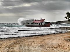 naufragio (silvia07(very busy)) Tags: naufragio spiaggia beach mare sea barca boat onde waves maremosso nuvole clouds citera kythera