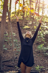 The Warmth of Fall (benjamintrueblood) Tags: portrait warmth fall orange yellow green sun sunlight leaves leaf girlfriend throw happy golden hour autumn october shallow depth field moment time girl world air high nature woods trees tree