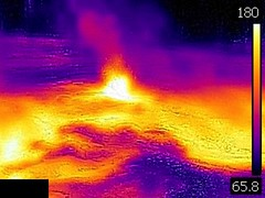 Thermal image of Spasmodic Geyser erupting (late afternoon, 11 August 2016) 2 (James St. John) Tags: spasmodic geyser sawmill group upper basin yellowstone hotspot volcano wyoming hot spring springs geysers thermal image temperature