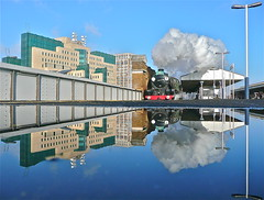 Vauxhall Then and Now (Deepgreen2009) Tags: reflection mirror ponding platform puddle london modern old steam uksteam train railway mi5 contrast rainfall vauxhall