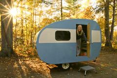 Autumn Camping (cedarkayak) Tags: teardrop trailer cannedham autumn hartwickpines statepark michigan mi camping fall campsite sunset sunburst retro homebuilt