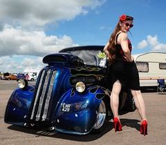 Holly_7363 (Fast an' Bulbous) Tags: ford pop popular fordson van outlawanglia oldtimer fast speed power drag strip race track santa pod pits england dragstalgia people outdoor motorsport pinup girl woman hot sexy hotty dress skirt wiggle long brunette hair seamed stockings highheels stilettos red shoes blue sky summer sunglasses
