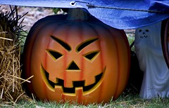 What lurks in the shadows? (Pejasar) Tags: pumpkin jackolantern holiday halloween ghost shadows below haunt