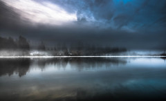 Morning Air (jeanmarie (been working lots of overtime)) Tags: jeanmarieshelton jeanmariesphotography jeanmarie mist morning fog clouds cloudy sky reflections landscape light lake longexposure longshot nikon nature nikond810
