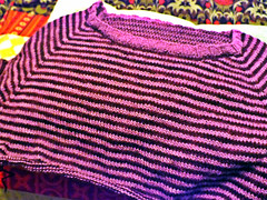 Almost There (AnnieKM) Tags: sweater almostthere ravelry wool merino stripes fingering pink purple knitting