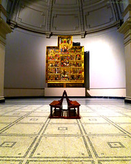 Bench before the Retable of St George, (MJ Reilly) Tags: va victoriaalbert southkensington kensington museum london art victorian valencia spain spanish alterpiece saintgeorge stgeorge retableofstgeorge canon s100 powershot bench emptyseats emptychair fineart classic classical yourphototipscom