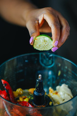 _B8A3146 (Chantelle D'mello) Tags: food foodie photography peppers red green yellow copper sauces dips hummus chickpeas leaves lime garlic onion whisk butter roux blueberries dates coconut sugar flakes cashew nuts hazelnuts almonds cooking fire cook trinidad trinidadandtobago zucchini zoodles pasta mushrooms tomatoes tahini