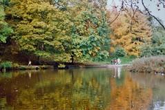 Forge Dam in Autumn (brightondj) Tags: sheffield walk ramble 1990 1990s scan scanned 35mm autumn foxhousetohuntersbarwalk forgedam pond reflection colours pete netto