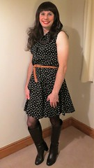 I'd love to be able to go out wearing something casual/smart like this. (bryony_savage) Tags: cd tg tv crossdress crossdressing crossdresser dress floaty pattern belt black sheer tights brown boots makeup wig transvestite dressing