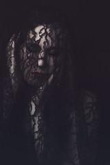 Sorrow (Alyssa Mort) Tags: alyssamort portrait selfportrait photography lace dark darkart conceptual fineart bookcover girl indoor blackbackground redlips