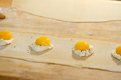 ravioli with poached egg and ricotta (bour3cp1) Tags: ravioli with poached egg ricotta