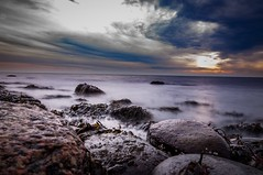 Slow and nice (johanlovn1) Tags: focus sweden autum slowshutter seaweed sunset seaside stone sea