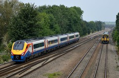 222018 & 158901 pass at Tupton nr Chesterfield, 3rd Sept 2014. (Dave Wragg) Tags: 222018 class222 meridian emt eastmidlandtrains 1f17 158901 class158 sprinter northernrail 1y21 tupton dmu railcar railway