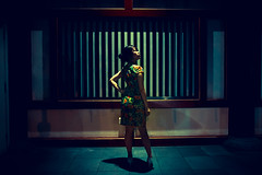 Shadows and Light (Jon Siegel) Tags: nikon d810 sigma 24mm 14 sigma24mmf14art 24mm14 woman girl beauty beautiful cheongsam sexy night shadow shadows temple chinatown chinese singapore singaporean linying musician artist localartist people