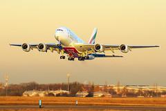NEW edit   Airbus A380   A6-EOW   Emirates   EK140   Prague Airport PRG (CZ) 29.11.2016 (Richard Weber) Tags: airbus a380 superjumbo emirates prg prague airport czech republic sunset a6eow ek140