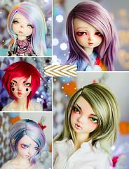 Roundup (✄Frappzilla) Tags: bjd minifee luka flam mio pukifee halloween xagadoll kiki wig wigs wigmaking