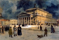 Benois, Alexandr (1870-1960) - 1939 The Bolshoi Theater in St. Petersburg in 1885 (Private Collection) (RasMarley) Tags: building architecture watercolor 1930s theater cityscape group streetscene painter gouache russian 20thcentury 1939 privatecollection benois alexandrbenois thebolshoitheaterinstpetersburgin1885