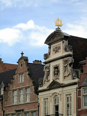 Ornate gables and ship weathervane, Ghent, Belgium (Paul McClure DC) Tags: architecture belgium historic ghent gent gand flanders oostvlaanderen apr2012