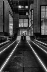metropolis (Fluffy Mackerel) Tags: street urban monochrome architecture night grid vanishingpoint glow edmonton perspective hdr leadingline epcortower
