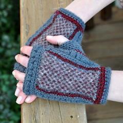 Vintage possum fabrics and crochet mitts (Kiwi Little Things) Tags: