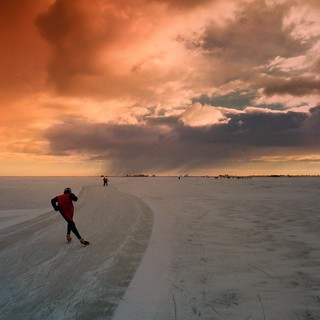 Speed skater immersing into the Dutch winter