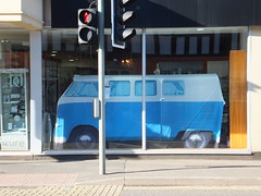 Indoor camping (stevenbrandist) Tags: blue classic window shop vw shopping display leicestershire tent camper loughborough campervan