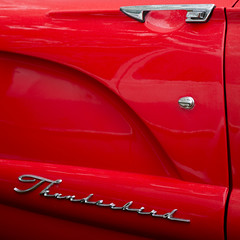 Thunderbird door. (Trevor King 66) Tags: door red classic car logo handle letters lettering thunderbird doorhandle