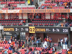Good Scoreline (mikecogh) Tags: orange football seats fans electronic score afl skodastadium