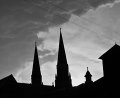 St Anne from Behind (jaymaniii) Tags: blackandwhite church clouds mi cathedral michigan detroit steeple stormclouds stanne oldestchurch