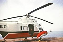 Ride of a lifetime (annkelliott) Tags: sea hardhat anne middleeast helicopter nostalgia seashell oldphoto oilrig doha qatar drillingrig helicopterpad annkelliott anneelliott visittooilrig scanfromaprintfromaslide 28january1967