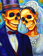 Bowen_Magda_FireWorks (magdabowen) Tags: wedding woman art hat lady painting dayofthedead skeleton couple veil suit tuxedo tophat weddingdress catrina brideandgroom mexicanart diadelosmuerots