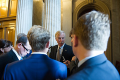 "Senator speak with reporters after the meeting with the POTUS • <a style=""font-size:0.8em;"" href=""http://www.flickr.com/photos/32619231@N02/9408325231/"" target=""_blank"">View on Flickr</a>"