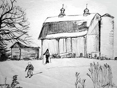 "Farm Snow Scene pen & ink • <a style=""font-size:0.8em;"" href=""https://www.flickr.com/photos/78624443@N00/9758266812/"" target=""_blank"">View on Flickr</a>"
